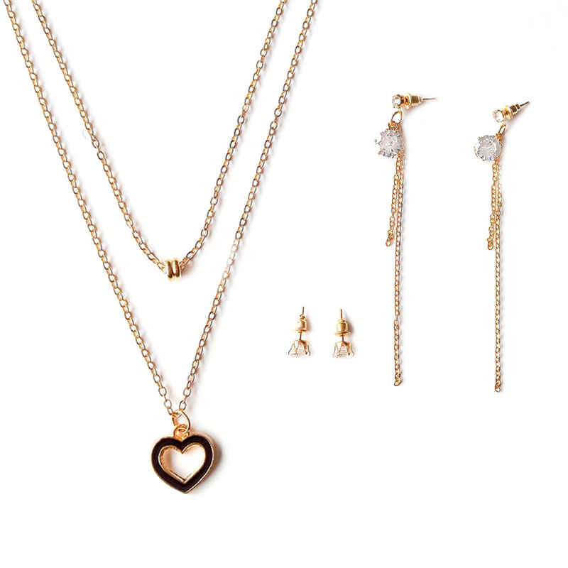 Girl Engagement Lovely Hollow Heart Shape Pendant Gold Plated Multilayer JEWELRY Set