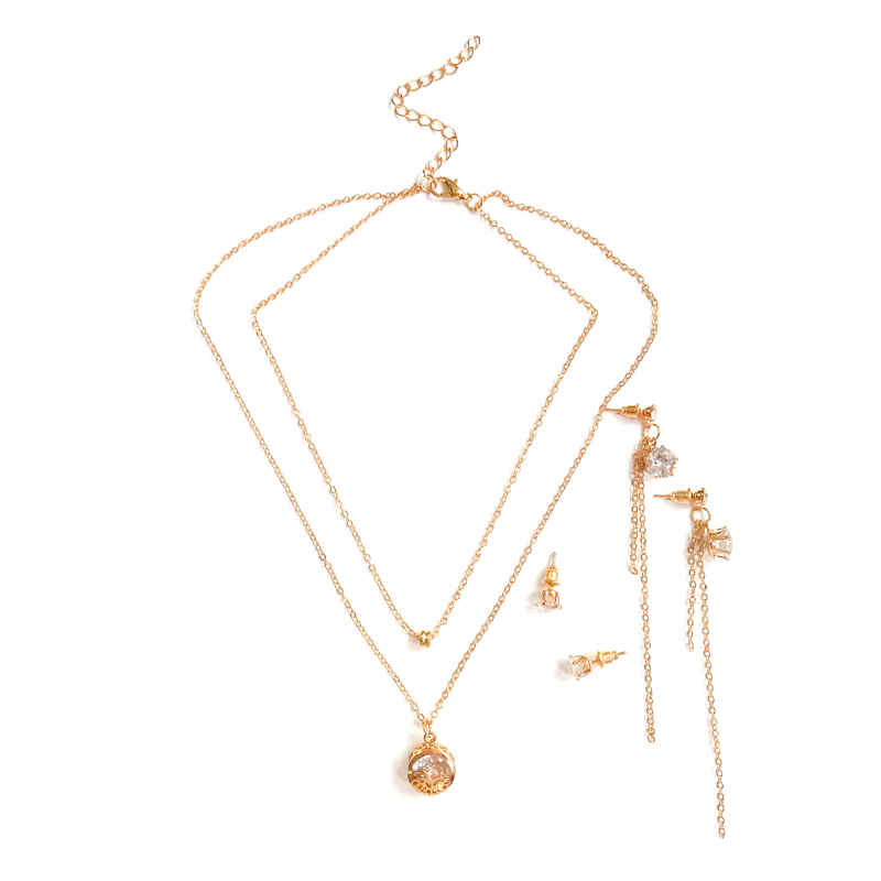 Lady Stylish Hollow Pattern Round Pendant Gold Plated Multilayer JEWELRY Set