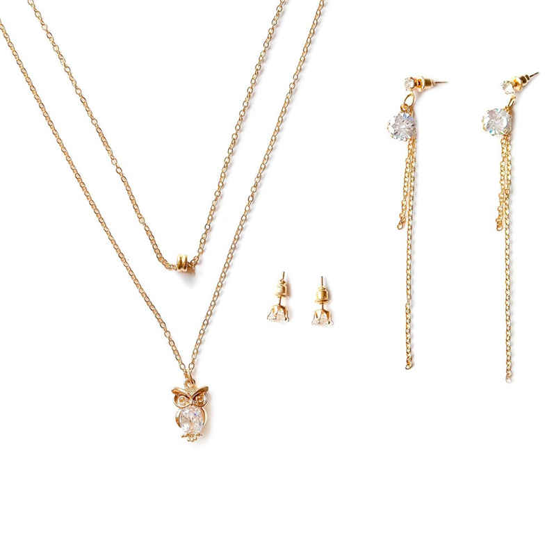 Girl Exquisite Zircon Decoration Owl Shape Pendant Gold Plated Multilayer JEWELRY Set