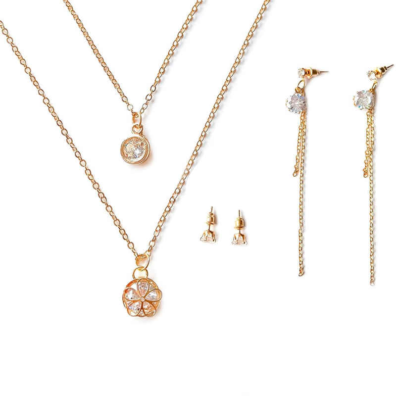 Girl Stylish Zircon Decoration Hollow Flower Pendant Gold Plated Multilayer JEWELRY Set