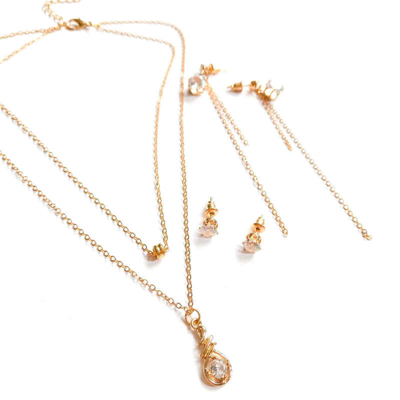 Lady Creative Zircon Decoration Bulb Shape Pendant Gold Plated Multilayer JEWELRY Set