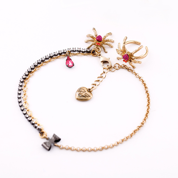 Girl Creative Heart Pendant Anklet Spider Shape TOE RING Jewelry Set
