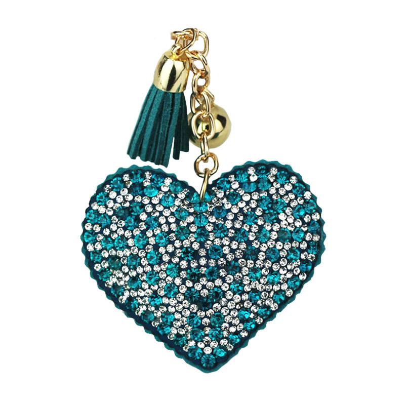 Trendy  Flannelette Heart Color DRILL Key Chain