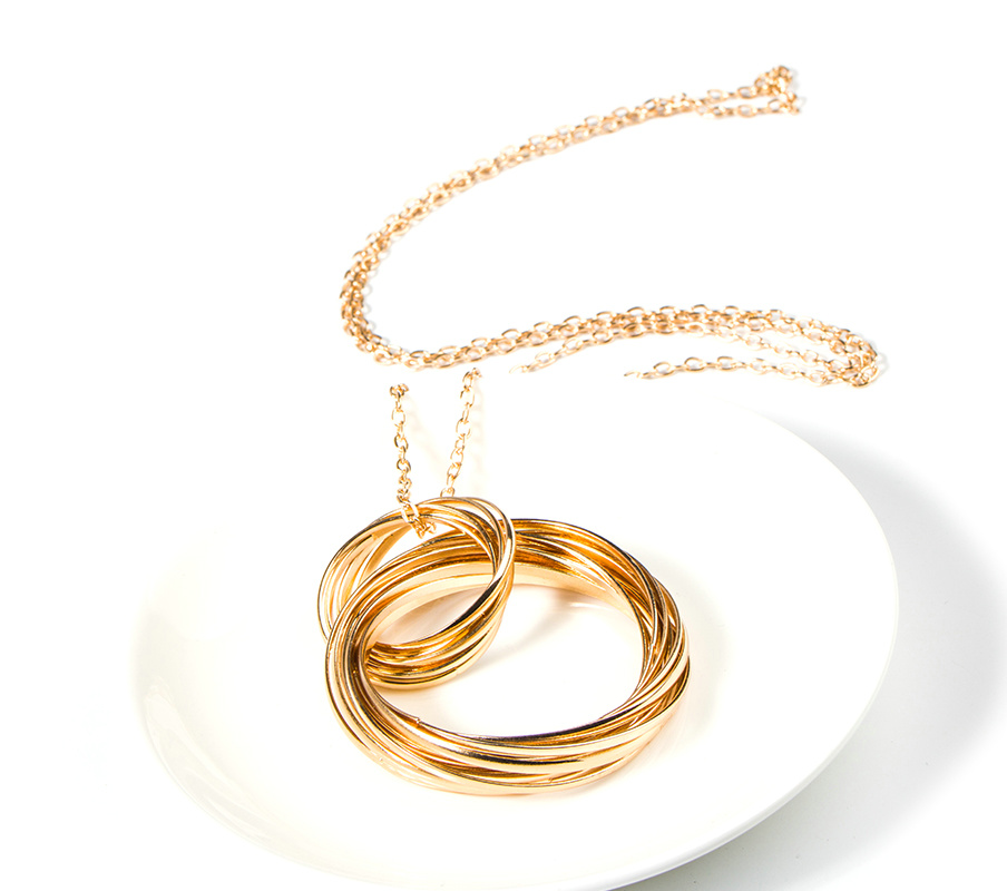 Fashion Golden Plated Alloy Ring Pendant SWEATER Necklace
