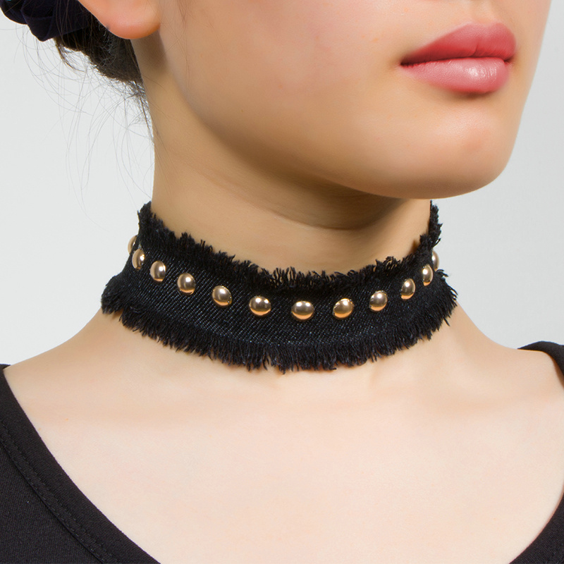 New Fashion Jean Fabric Rivet Wide Choker NECKLACE