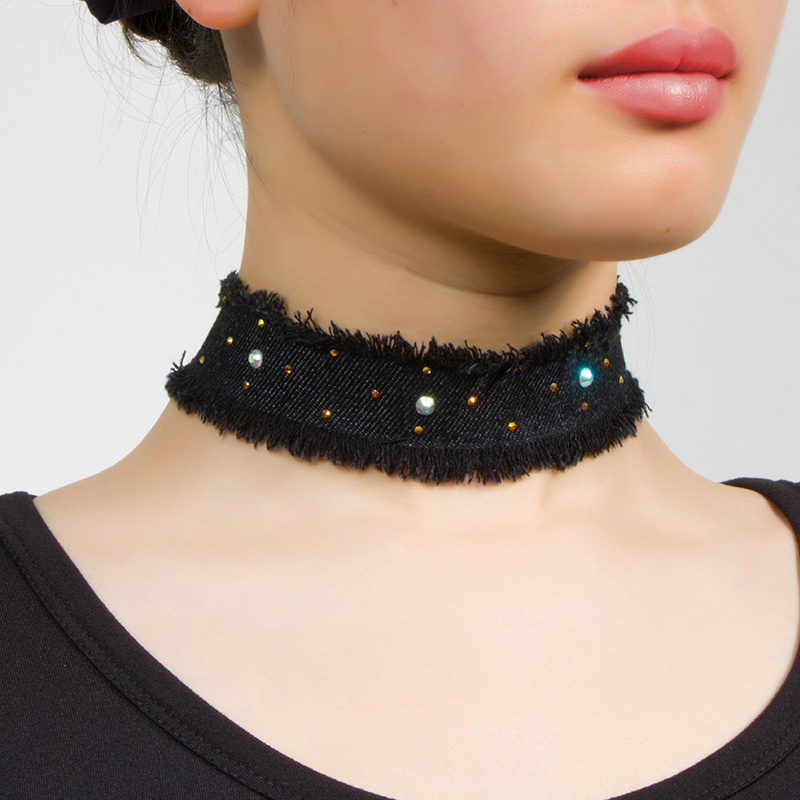 New Fashion Jean Fabric Crystal Rivet Wide Choker NECKLACE