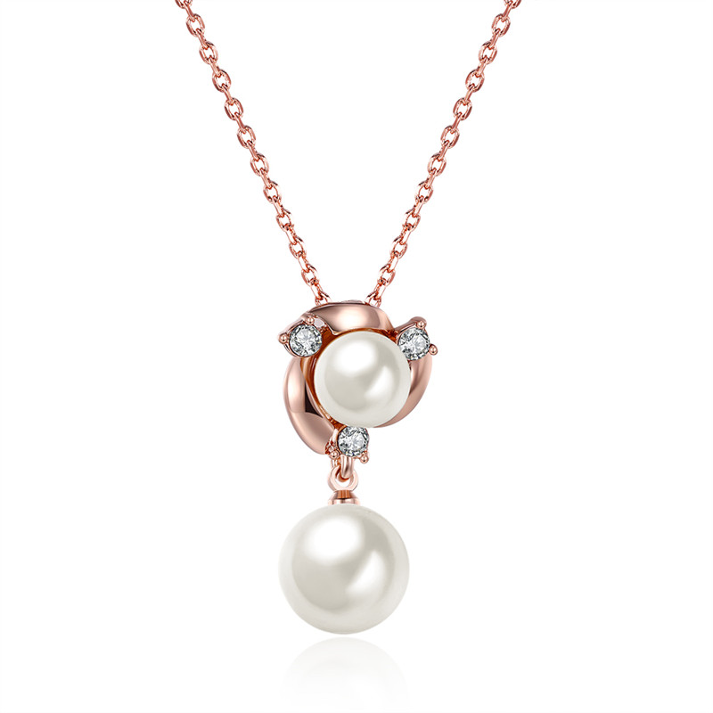 Fashion Accessory Gold Plated Rose Color Chain Elegant Imitation PEARL JEWELRY Pendant Necklace