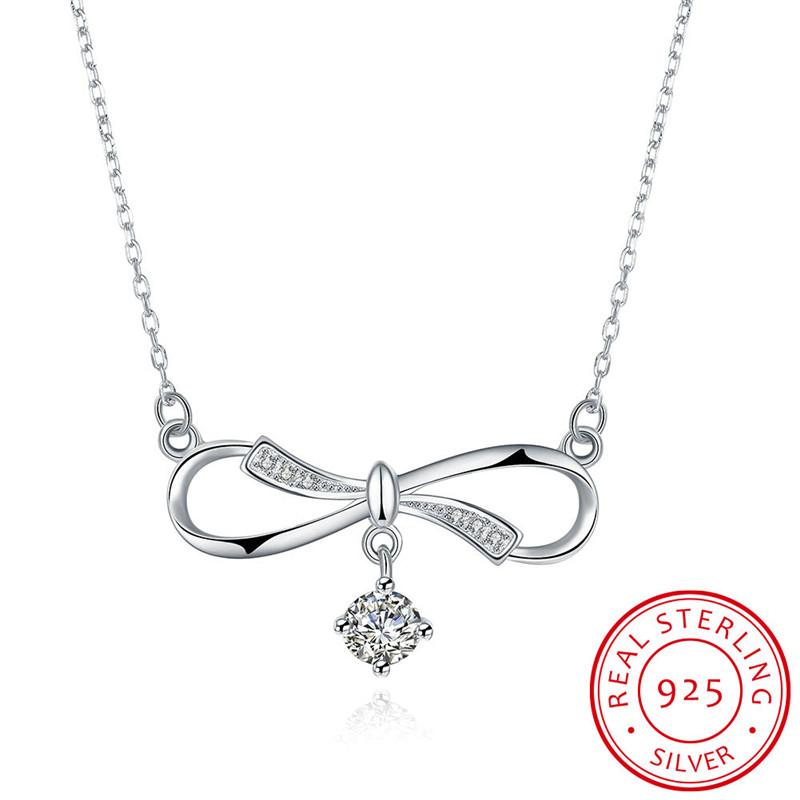 Bow-Knot Shape Square CHARM Graceful Pendant Necklace