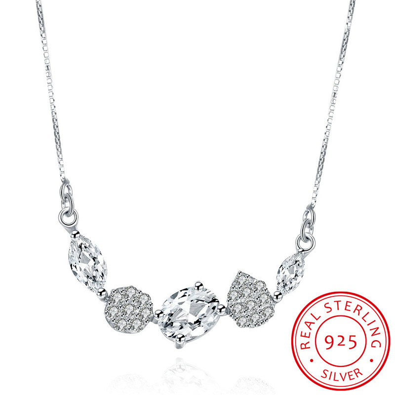 High Quality Crystal Zircon Decoration Stering Silver Pendant NECKLACE