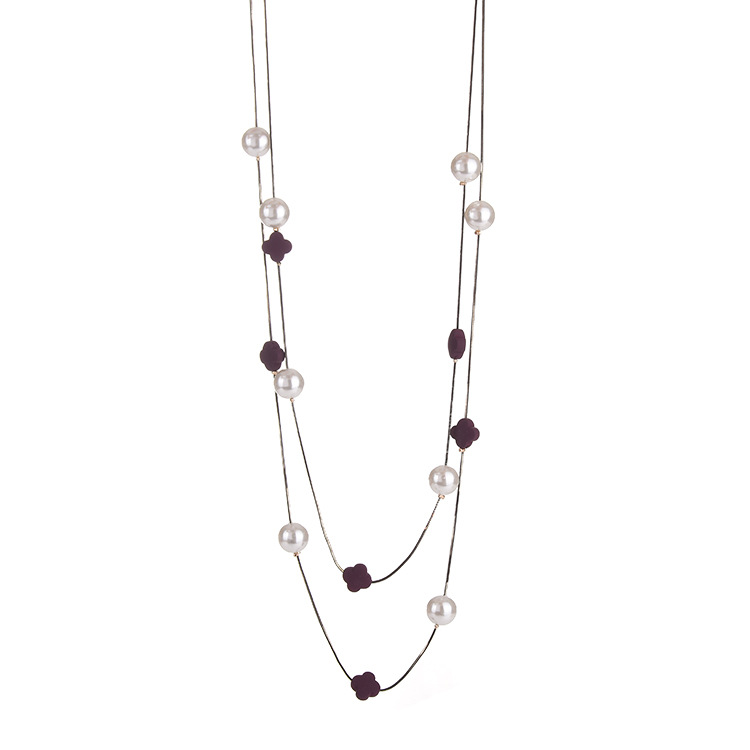Hot Sale Clover And Beads Decoration Graceful SWEATER Chain Necklace