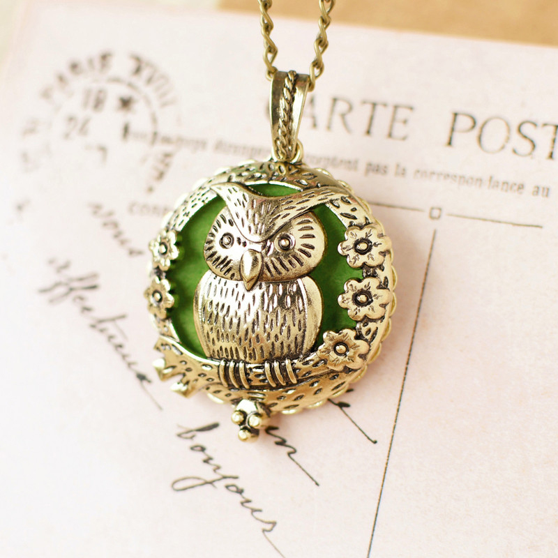 Sweet Girl Unique Deisgn Cute Owl PERFUME Oil Aromatherapy Sweater Necklace