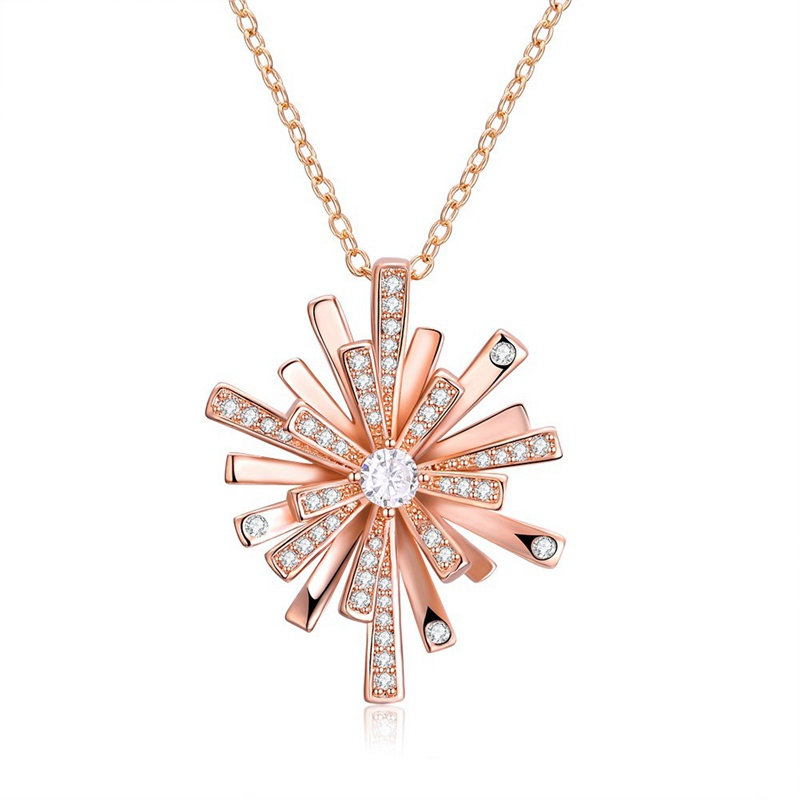 CHRISTMAS Snowflake Pendant Zircon Silver Plated Gold Necklace