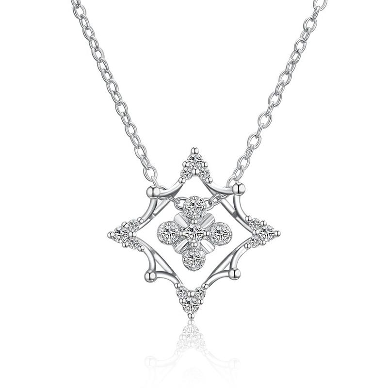 Fashion CHRISTMAS Pave Zircon Prismatic Shape Copper Necklace