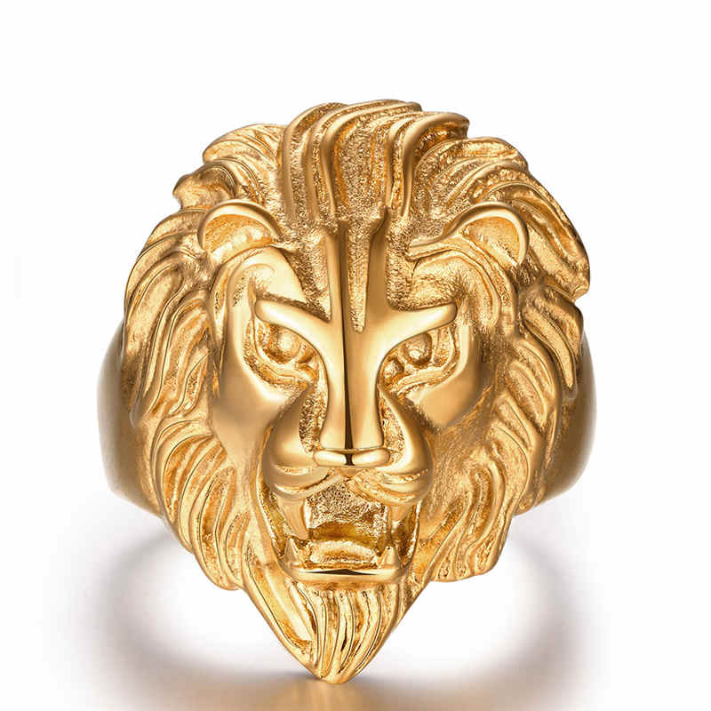 GOLD Color Stainless Steel Ring Lion Face Shape Power Men's Ring9#