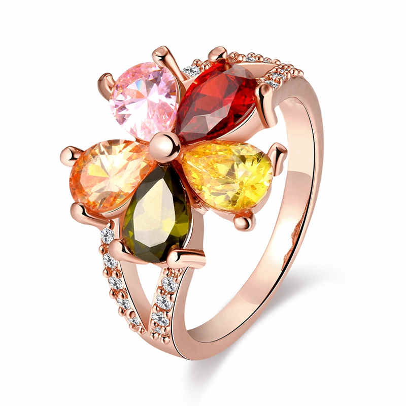 Bohemia Multicolor Flower CUBIC ZIRCONIA Rose Gold Rings 8#