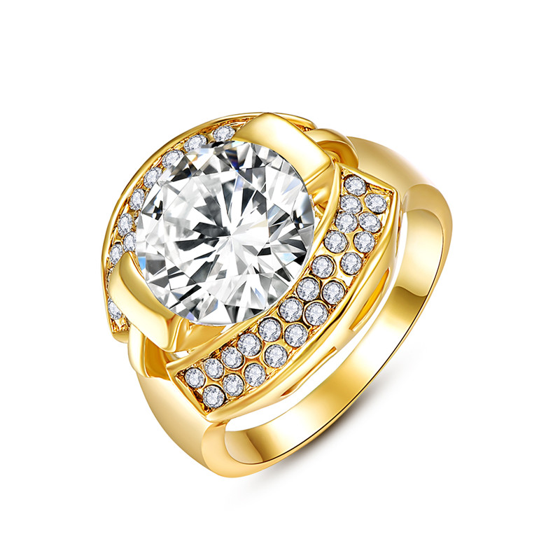 Gold Plated WATCH Shape Shiny Gemstone Ring 8#