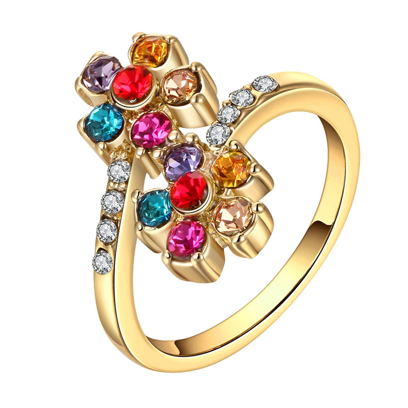 Bohemia Style Multicolor Czech DRILL Crystal Wedding Ring 8#