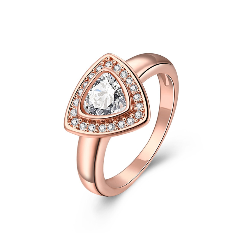 Metal Simple Design Triangle Shape CUBIC ZIRCONIA Engagement Ring 8#