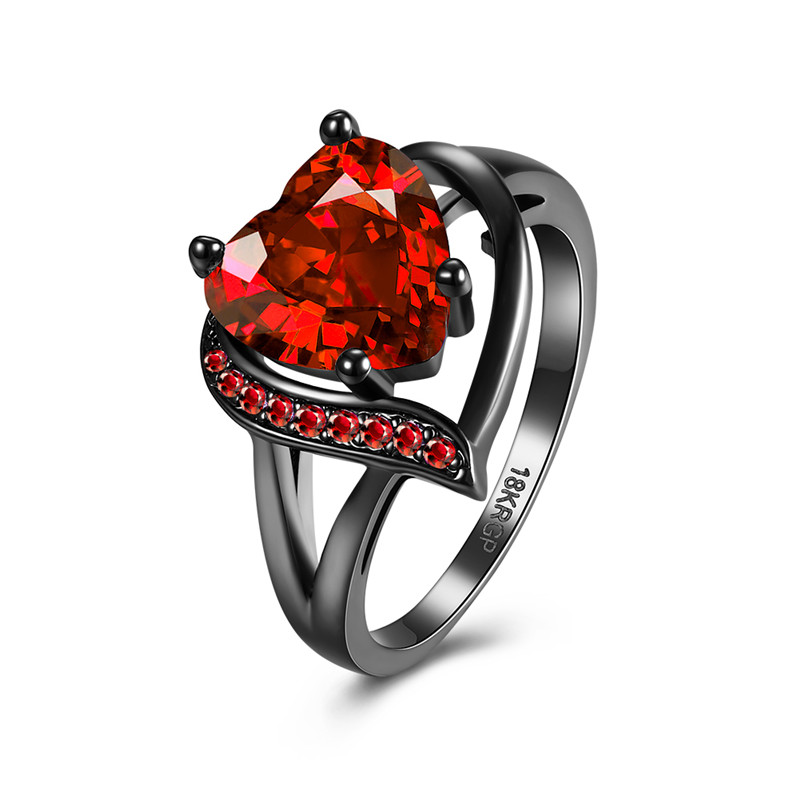 Vintage Ruby Cubic Zircon Black Gun Plated WEDDING Ring For Women 8#