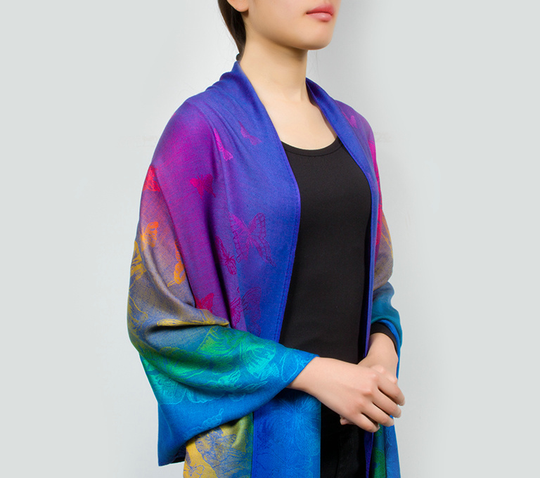 Rainbow Color Butterfly Winter Style Warm PASHMINA Tassel Scarf