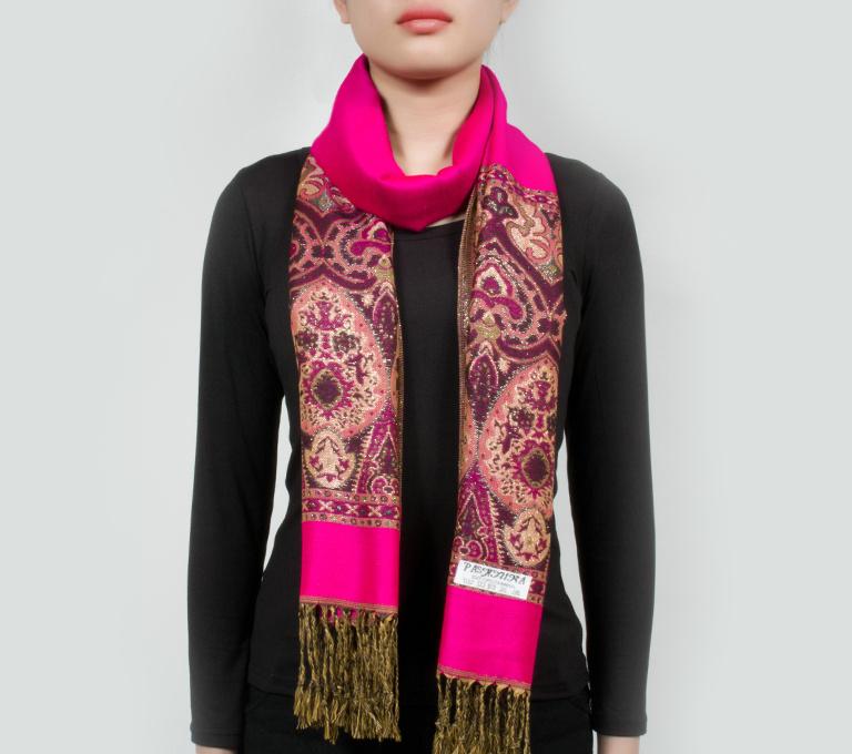 Bohemia Style Shiny Color Warm Winter PASHMINA Tassel Scarf