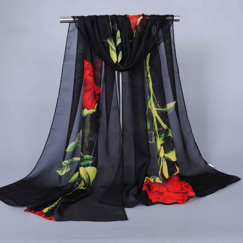 Rose Flowers SUNSCREEN Chiffon Shawl Scarf For Lady