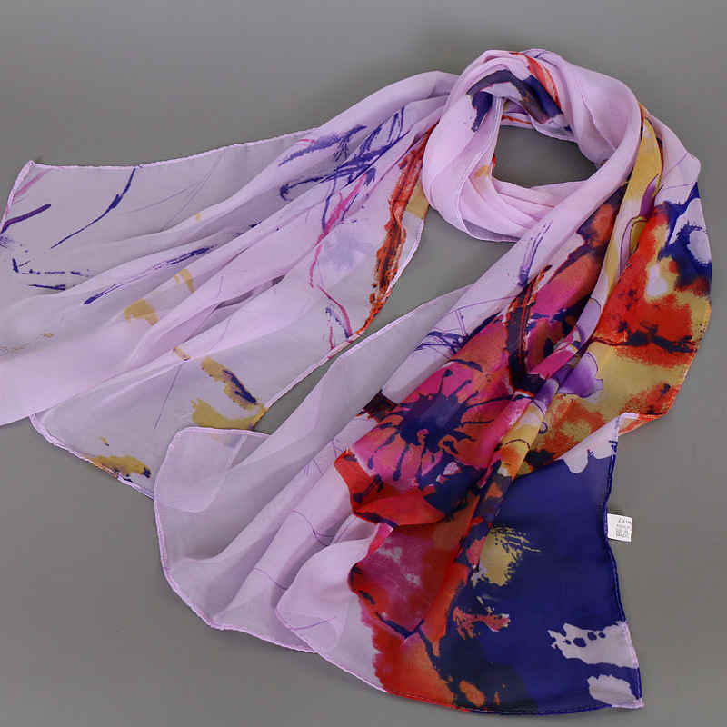 Ethnic Style FLOWERS Pattern Chiffon Scarves Shawl For Lady