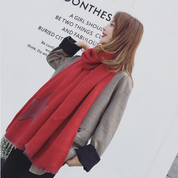 Female Winter New Warm Thick Five-Pointed Pattern Imitation CASHMERE Scarf