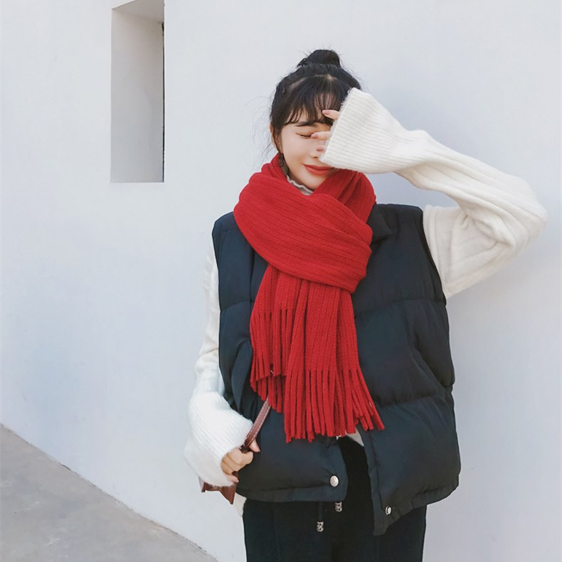 Lady Winter Fashion Long Thick Strip Tassel Imitation CASHMERE Scarf