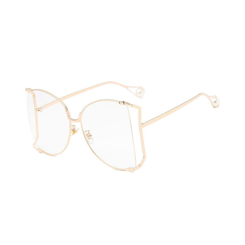 Trendy Hollow Cat Eye Simulated Pearl METAL Frame Womens Eyewear Frames SUNGLASSES