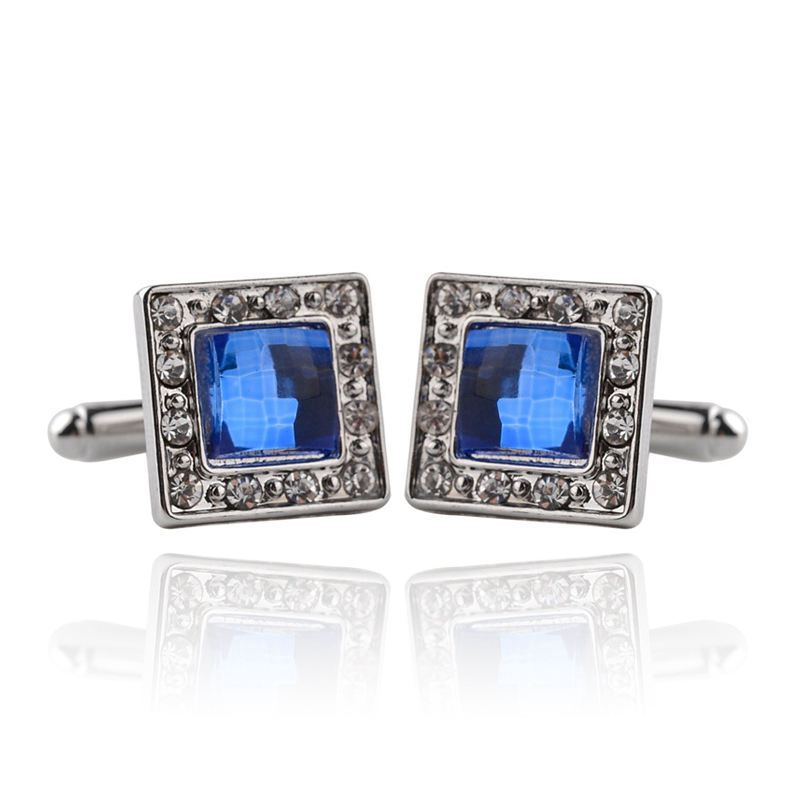 Hot Sale Men's Fashion JEWELRY Square Shape Alloy Cufflinks With Crystal