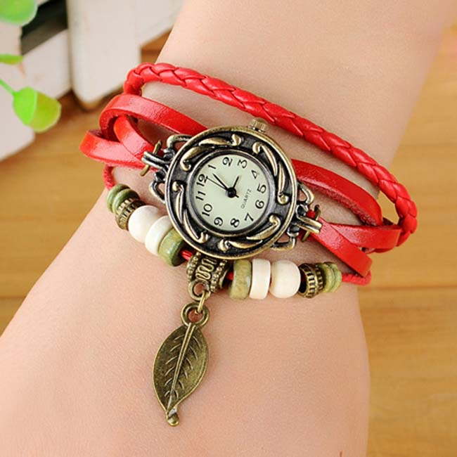 Fashion Vintage Charm Leaf Wrap PU  Leather Watch BRACELET