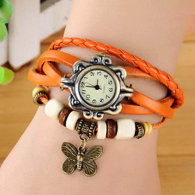 Fashion Vintage Charm Butterfly Wrap PU Leather Watch BRACELET