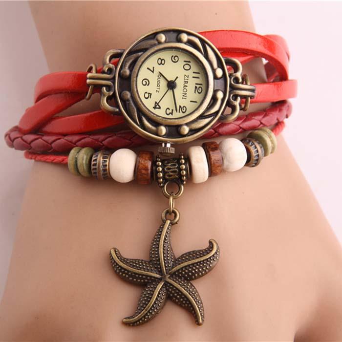 Fashion Vintage Charm Sea Star Wrap PU Leather WATCH Bracelet