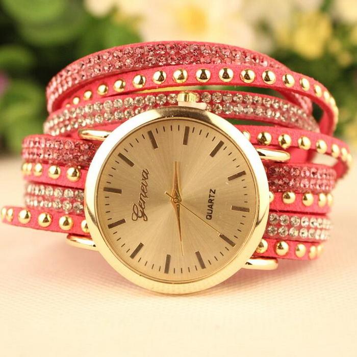 Women Fashion PU Band Trendy Rivet Rhinestone Bracelet WATCH