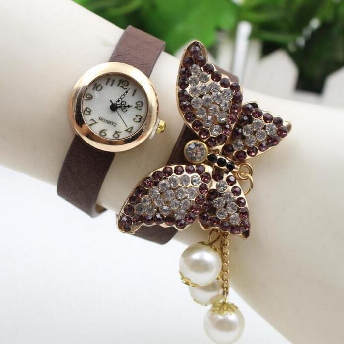 Women Luxury Style Colored Rhinestone Butterfly PU BAND BRACELET Watch