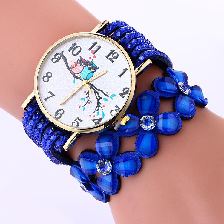 Cute Design Colored Crystal Flower PU BAND BRACELET Watch