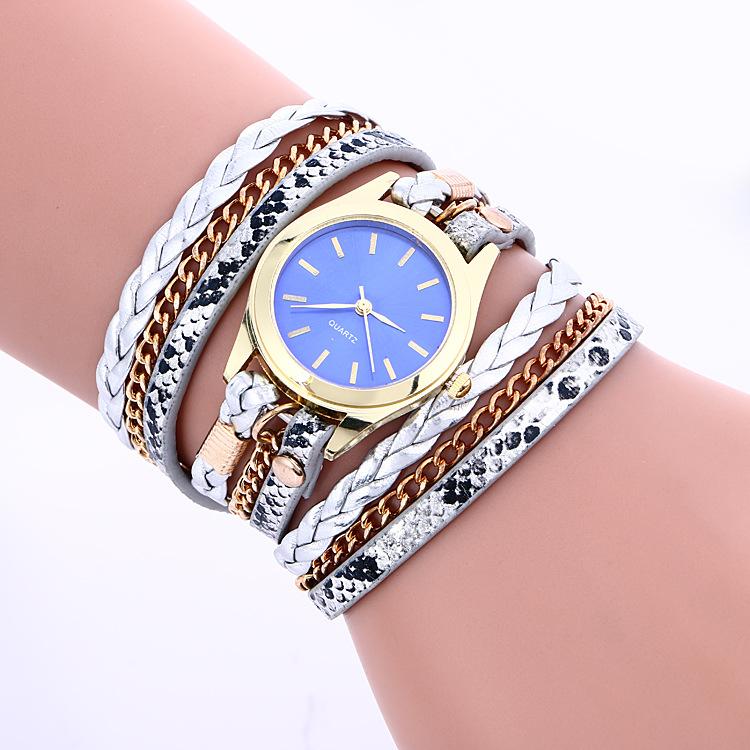 Bohemia Style Women Trendy PU BAND Golden Chain BRACELET Watch