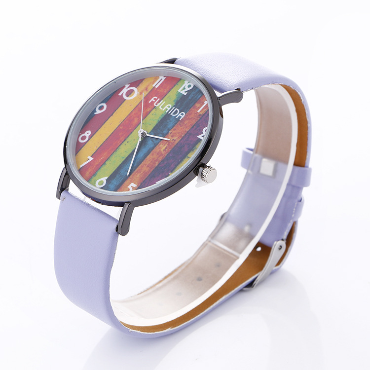 Unisex Style Fashion Women Rainbow Color Printed PU WATCH