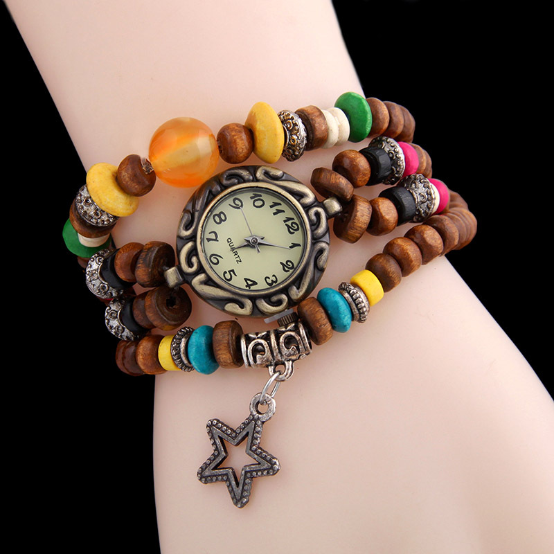 Hot-Selling WOMEN Ethnic Style Wooden Beads Wrap WATCH