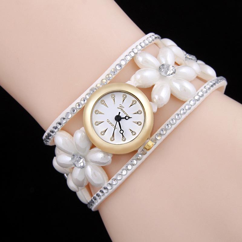 Fashion Girl Funny Design Resin Pearl Flower Decoration WATCH