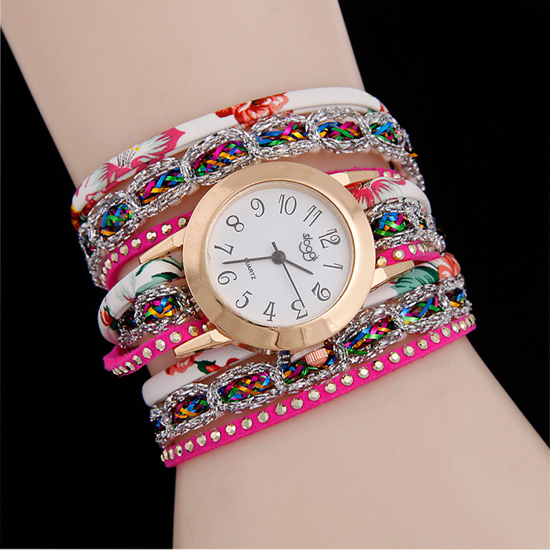 Colorful Women Multilayer PU Cord Rivet Decoration WATCH