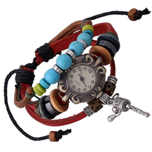 Retro Prayer Wheel Pendant Wooden Beads Leather Bracelet WATCH