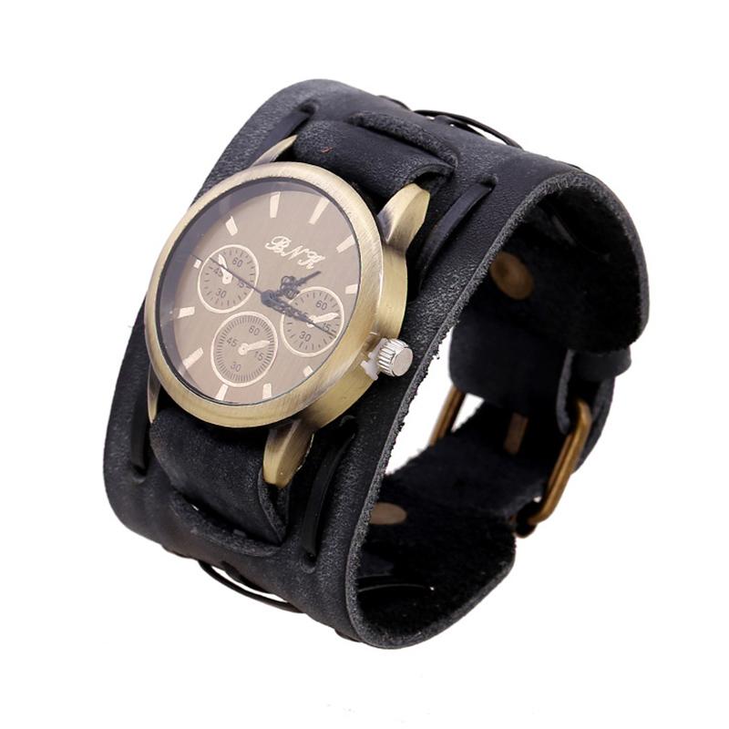 Vintage Simple Alloy Leather BRACELET Man's Watch