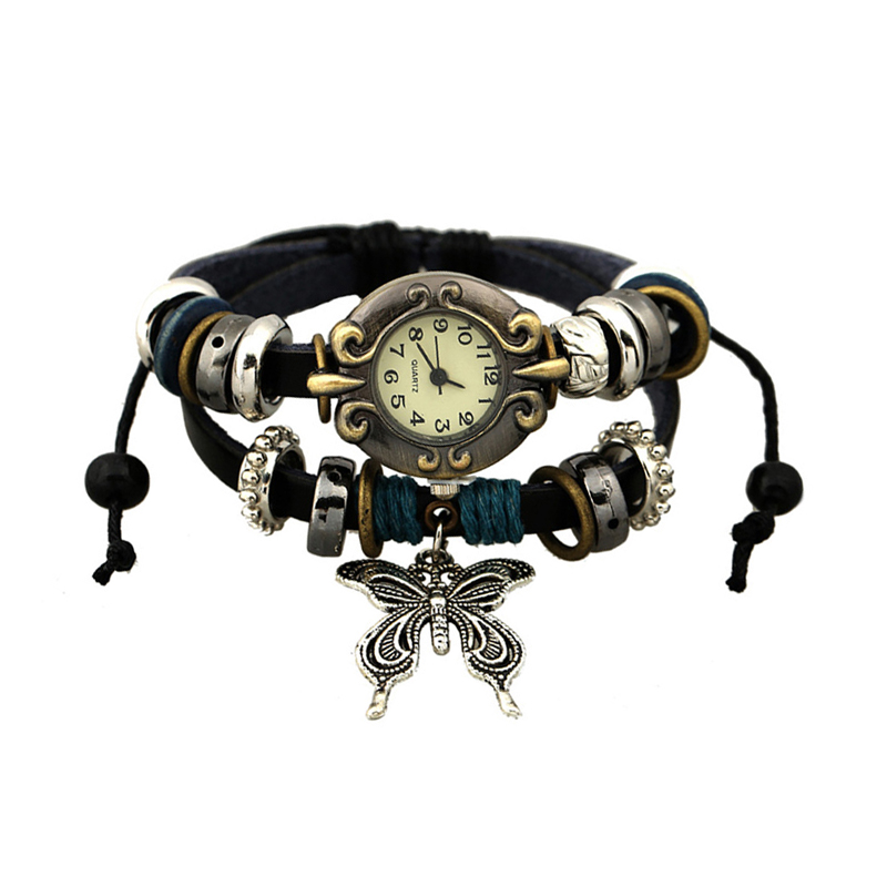 Fashion Butterfly Braided Leather Multilayer Women's BRACELET Watch