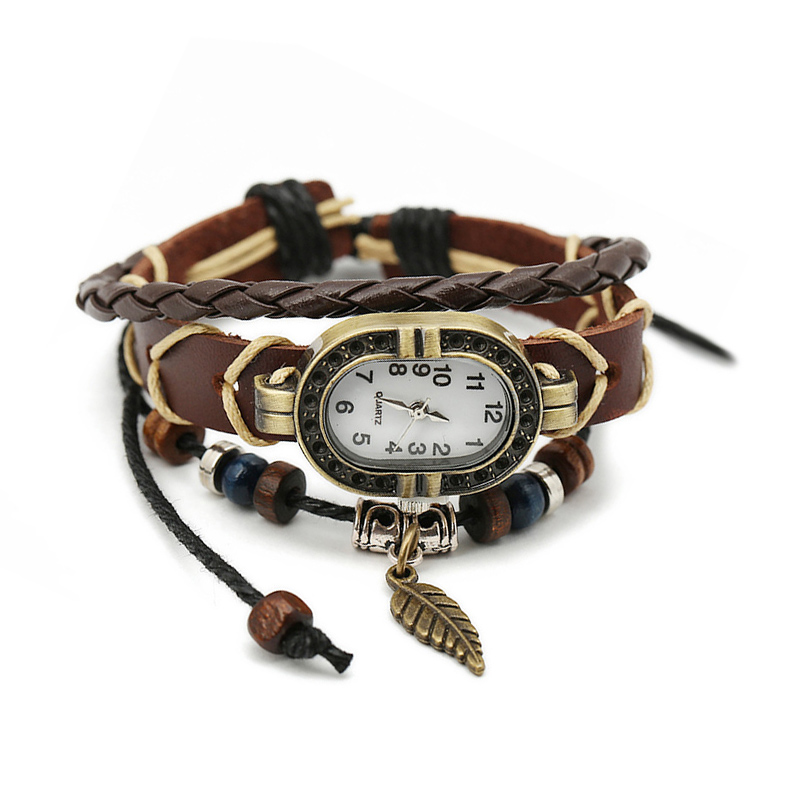 Fashion Sale Leaf Wooden Beads Leather Multilayer Unisex Bracelet WATCH