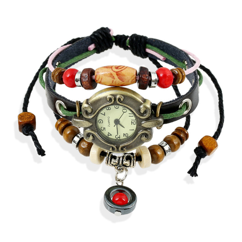 Hot Sale Wooden Beads Red Ball Multilayer Leather Bracelet WATCH