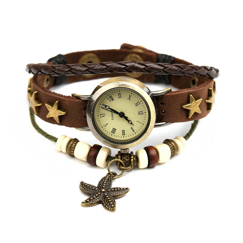 Unique Starfish Pendant Beaded Leather Multilayer Bracelet WATCH
