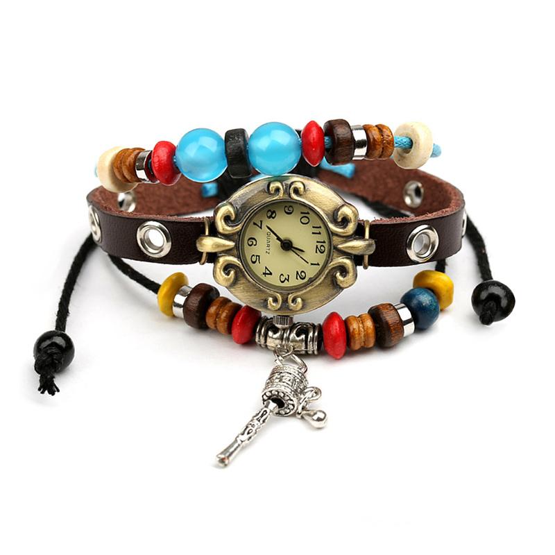 Vintage Prayer Wheel Beads Charm Multilayer Bracelet WATCH