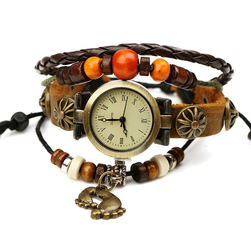 Retro Footprint Pendant Wooden Beads Multilayer Leather Bracelet WATCH